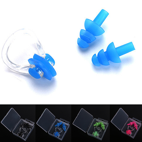Girl12Queen Silicone Waterproof Swim Nose Clip Adult Kids Diving Soft Anti-Noise Earplugs