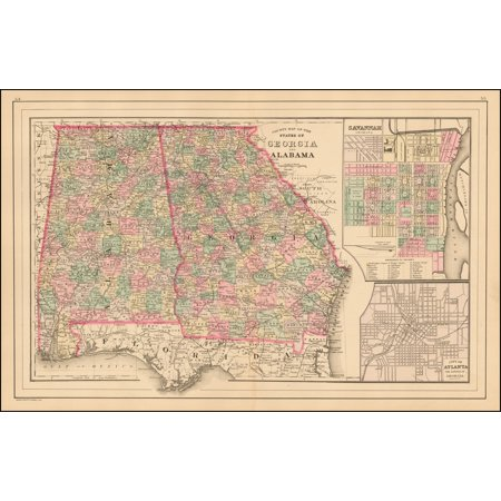 Georgia Satellite Map (LAMINATED POSTER County Map of the States of Georgia and Alabama POSTER PRINT 24 x 36)