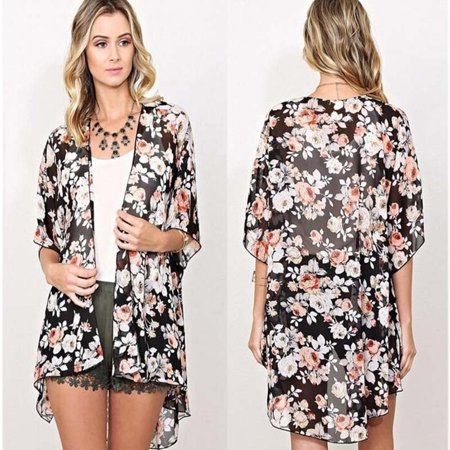 Women Floral Loose Shawl Kimono Cardigan Boho Chiffon Tops Jacket Blouse