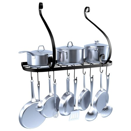Vdomus Wall Mount Pot Pan Rack Kitchen Cookware Storage Organizer 24 By 10 In With Hooks Black