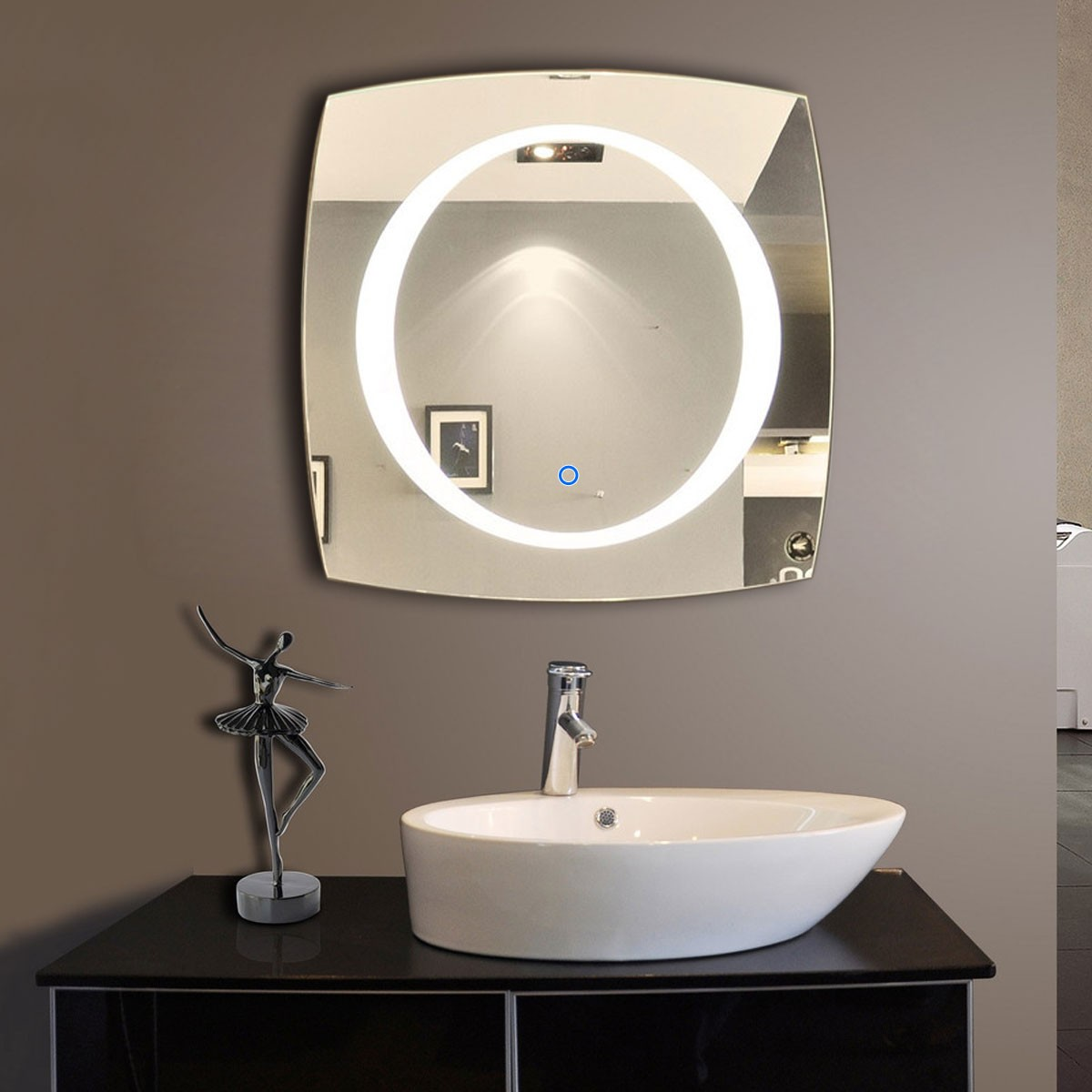 Decoraport square bathroom mirror wall mounted illuminated backlit bathroom vanity mirror with touch button frameless lighted makeup mirror 28 x 28 inch