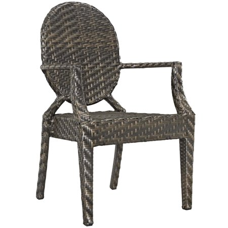 Modern Contemporary Urban Design Outdoor Patio Balcony Garden Furniture Side Dining Chair Armchair, Rattan Wicker, Brown ()