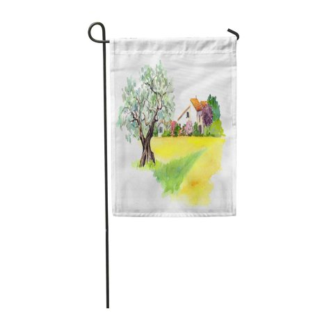 LADDKE Rural Provencal Farm House Olive Tree and Yellow Field Garden Flag Decorative Flag House Banner 12x18 inch