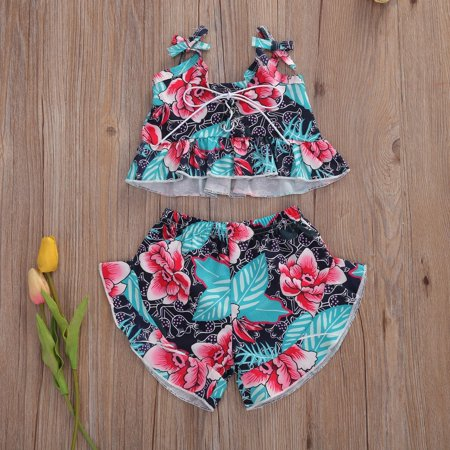 2PCS Children Floral Outfit, Girls Adjustable Spaghetti Strap Lace-up Ruffle Tank Top and Wide Leg Shorts Set - image 1 of 1