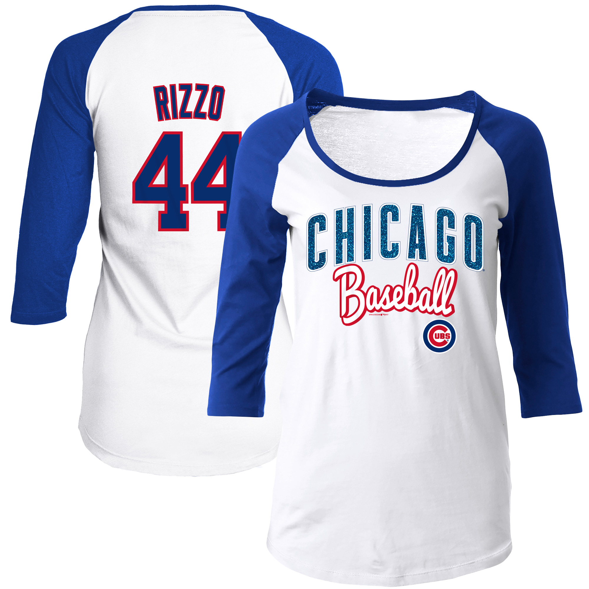 Anthony Rizzo Chicago Cubs 5th & Ocean by New Era Women's Glitter 3/4-Sleeve Raglan T-Shirt - White/Royal