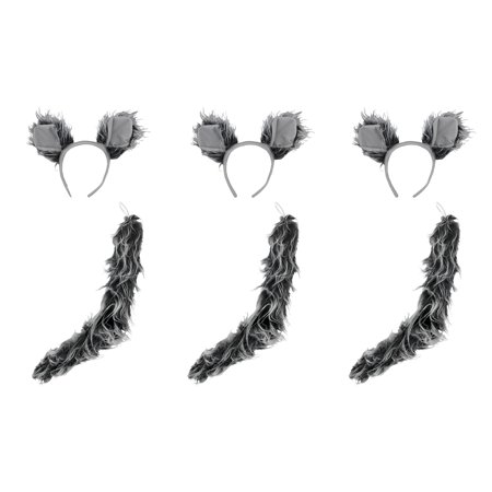 Werewolf Big Bad Wolf Ears Tail Kit Wolfman Grey Costume Set Halloween Accessory](Big Bad Wolf Mens Costume)