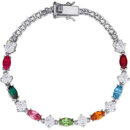 Family Jewelry Personalized Mother's Marquise-Shaped Birthstone Rhodium-Tone Bracelet