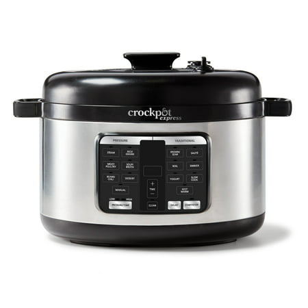 Crockpot Express 6-Qt Oval Max Pressure Cooker |9-in-1 Multi-Cooker, Slow Cooker, Rice Cooker, Steamer, Yogurt Maker, Food Warmer |15 One-Touch Programs, Steam Release Dial, Stainless Steel
