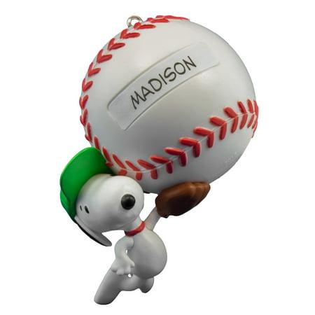 Snoopy Christmas Ornaments (Hallmark Keepsake 2016 Peanuts Slugger Snoopy Baseball)