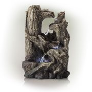 Alpine Corporation 5-Tier Rainforest Tree Trunk Water Fountain with LED Lights
