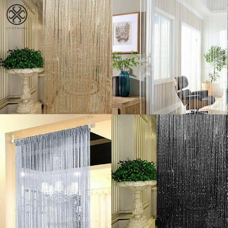 Luxtrada 2pcs Crystal Tassel Fringe Beaded Window Panel Darkening Energy-Efficient Thermal Curtain Panel White