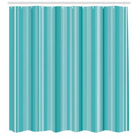 Aqua Shower Curtain Abstract Ocean Inspired Palette Lines Geometrical Image Fabric Bathroom Set With