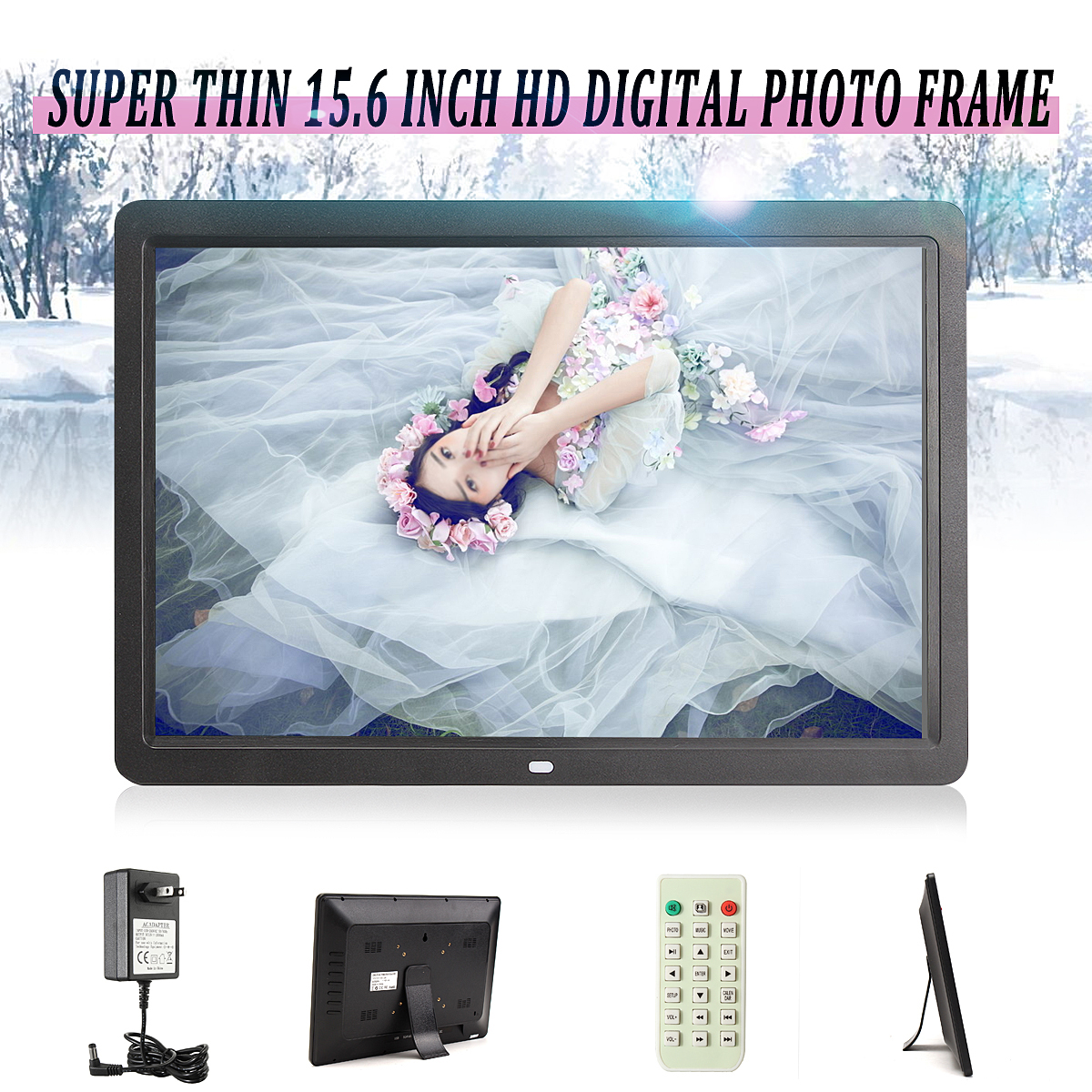 "15.6"" Full HD Digital Photo Frame Picture LED Media Movie Album Play + Remote  (1366*768 Resolution)"