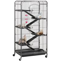 SmileMart 6 Levels Rolling Pet Cage with 3 Front Doors & Pet Bowl & Water Bottle for Small Animal Ferret Chinchilla Rat,Black