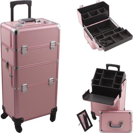 Hiker Hk6501pppk Pink Pro 4 Wheel Makeup Case