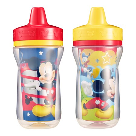 Born Free Drinking Cup Spouts (Disney Mickey Mouse Insulated Hard Spout Sippy Cups, 9 Oz, 2 Pk )
