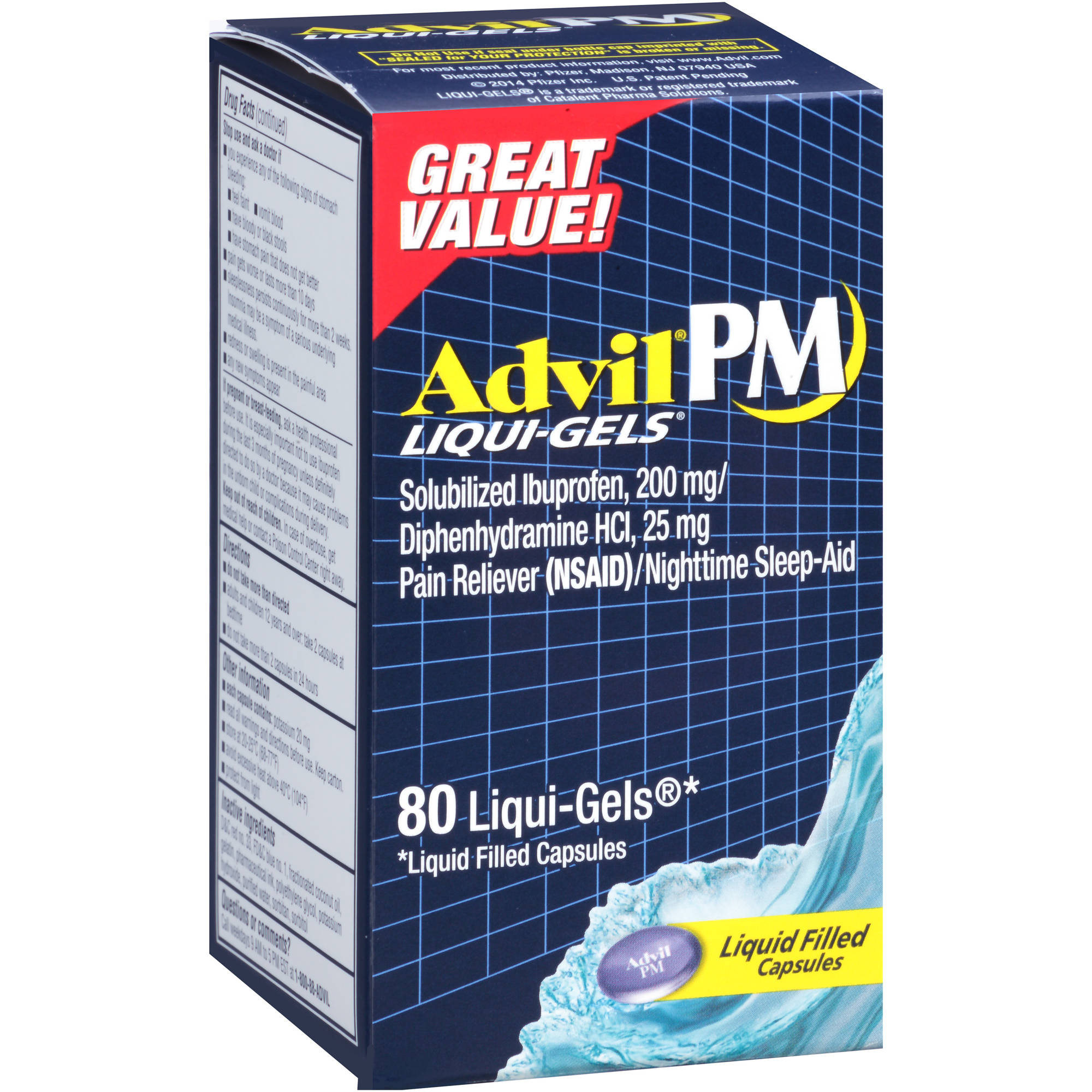 Advil PM Liqui-Gels Pain Reliever / Nighttime Sleep Aid (Ibuprofen and Diphenhydramine)  80 CT