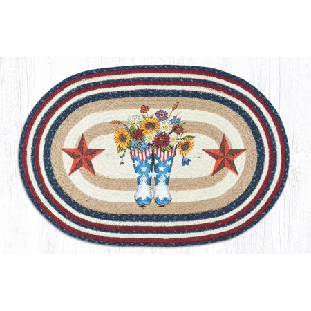 Earth Rugs Op 565 American Boots With Barn Stars Oval Patch 20 X 30