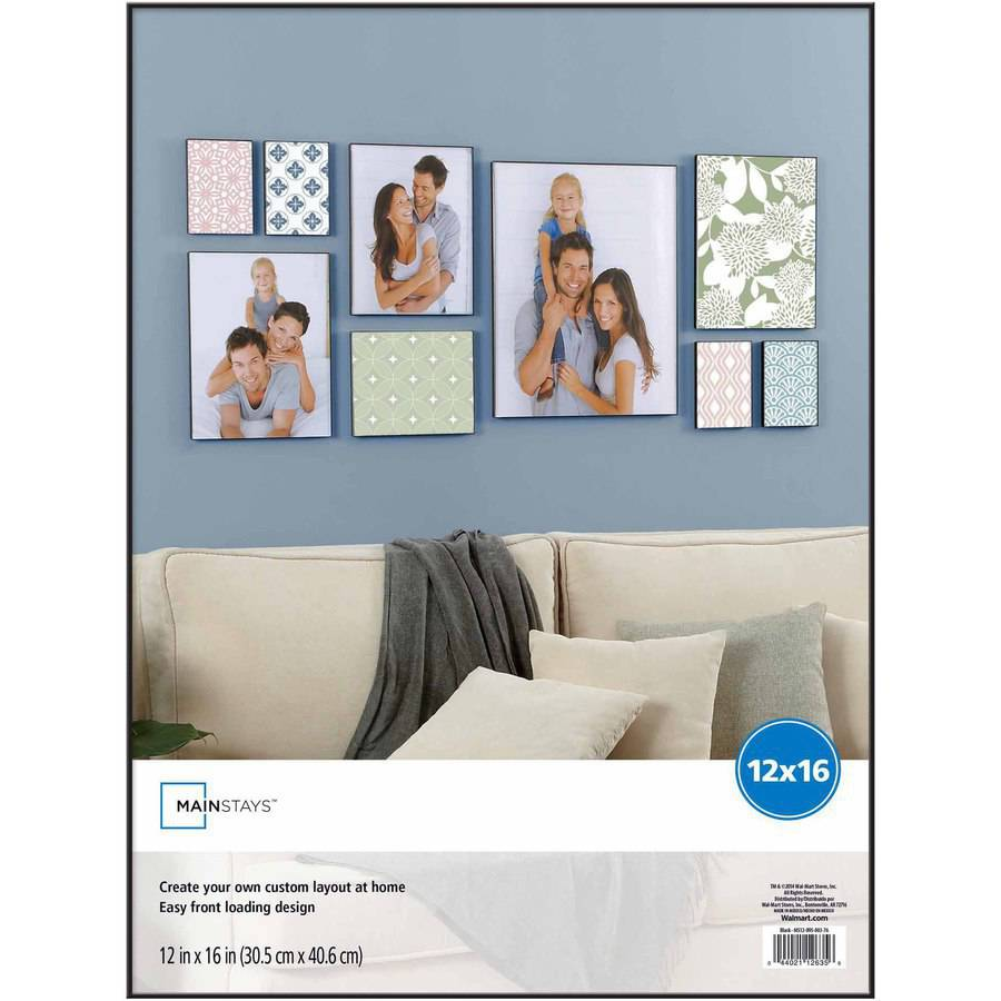 """Mainstays 12"""" x 16"""" Format Picture Frame, Black Finish"""