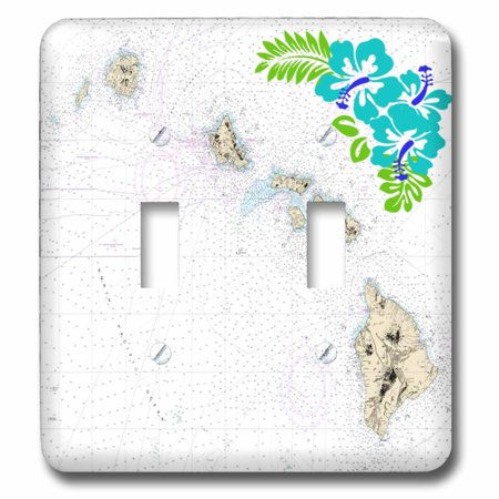 3dRose Print of Nautical Hawaiian Islands Map With Hibiscus - Double Toggle Switch
