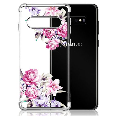"Samsung Galaxy S10 Plus, S10+ (6.4"") Phone Case Hybrid Shockproof Silicone Rubber Rugged Hard Soft Protective TPU Case Slim Cover Transparent Pink Rose Flowers Case for Samsung Galaxy S10+ / S10PLUS"
