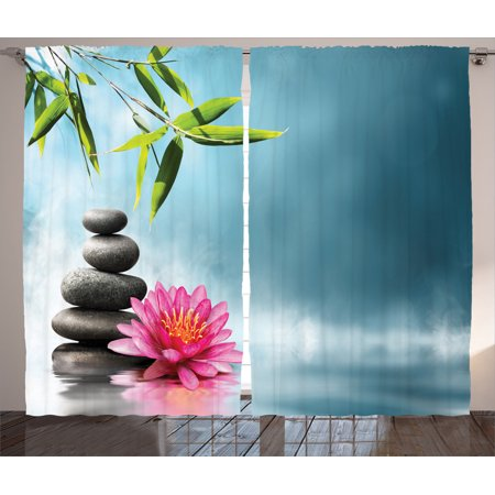 Spa Decor Curtains 2 Panels Set, Spa Theme Picture With Lily Lotus Flower And Rocks Yoga Style Purifying Your Soul Theme, Living Room Bedroom Accessories, By Ambesonne ()