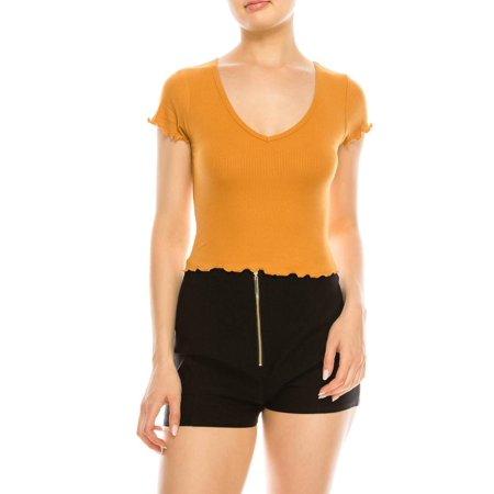 Ruffle Front Knit Shirt (Salt Tree Women's V-Neck Cap Sleeves Ruffled Ribbed Knit Crop Top)