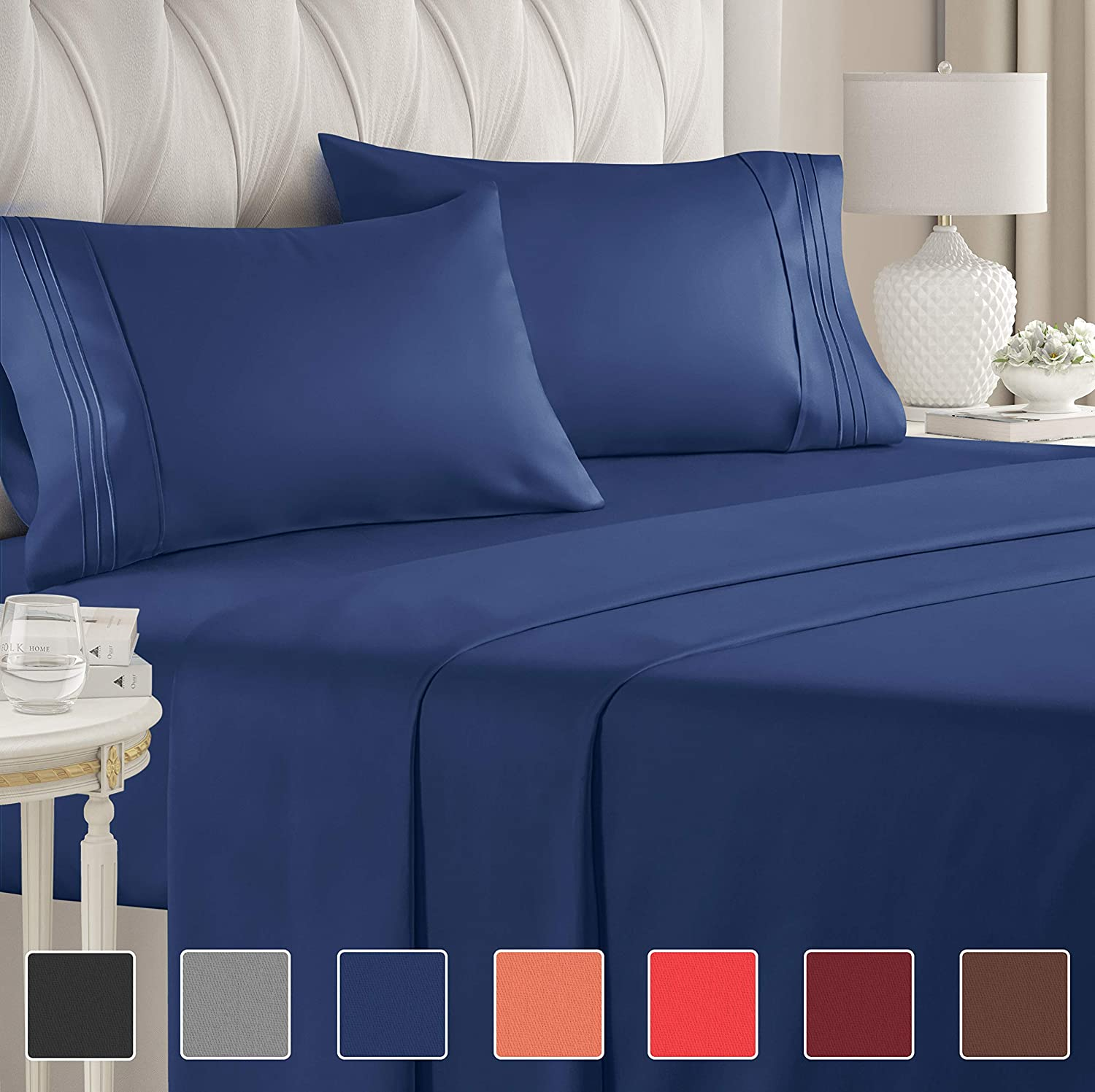 California King Size Sheet Set 4 Piece Luxury Bed Sheets Extra Soft Deep Pockets Easy Fit Breathable Cooling Wrinkle Resistant Navy Blue Royal Sheets Walmart Com Walmart Com