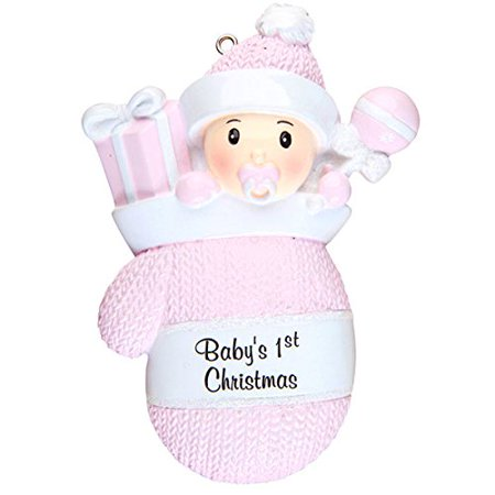 Baby's First Christmas Pink Girl in Mitten Glove Christmas Tree Ornament - Mitten Ornaments