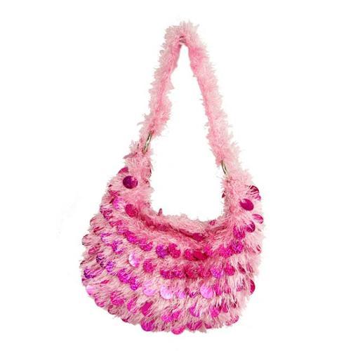 "10.5"" Diva Fashion Purse Small Pink Hobo Handbag with Shiny Sequins and Fringe"