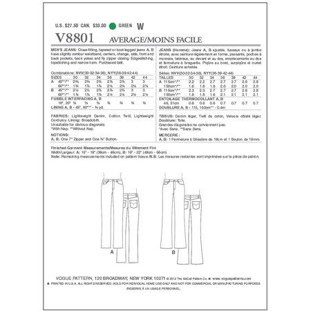 Men S Jeans Nv 30 32 34 36 Sewing Pattern