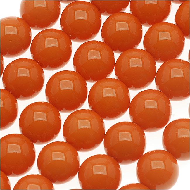 Czech Glass Round Party Beads 6mm - Neon Orange (1 Strand / 29 Beads)