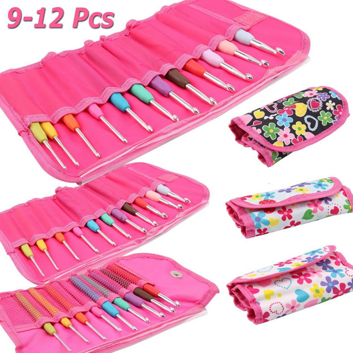 9/11/12Pcs Crochet Hook Set Knitting Needle Yarn Handle Organiser Case Set Tool,9 color