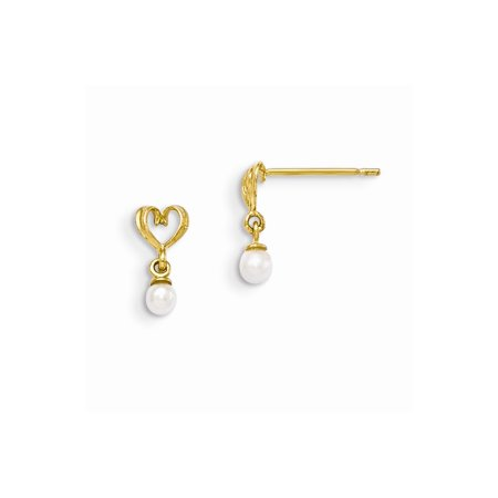 14k Yellow Gold Madi K Freshwater Cultured Pearl Heart Dangle Post Earrings (9MM Long x 5MM Wide)