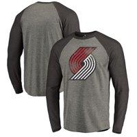 301a6c280ce Product Image Portland Trail Blazers Fanatics Branded Distressed Logo  Tri-Blend Raglan Long Sleeve T-Shirt
