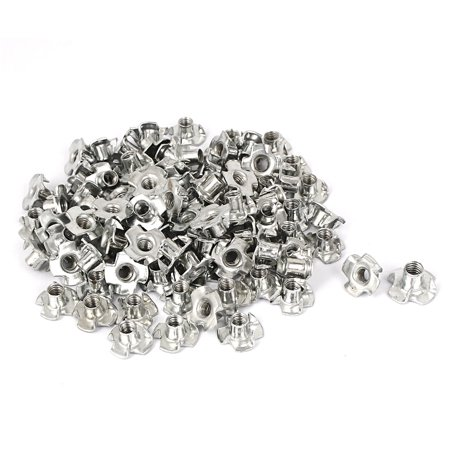 Furniture M5 Thread Zinc Plated 4 Prong Tee Nuts Insert Connectors 100pcs - image 1 of 1