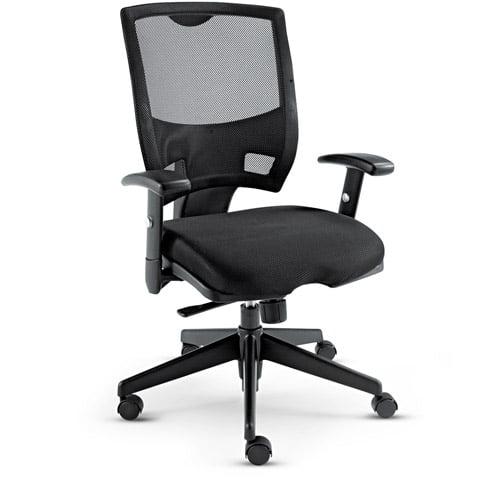 Alera Epoch Series Mesh Mid-Back Swivel/Tilt Multifunctional Chair, Black