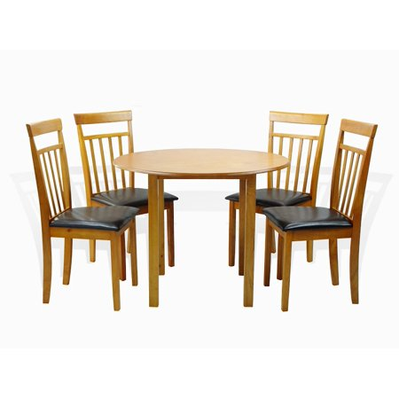 SK New Interiors Dining Kitchen Set of 5 Piece Round Table and 4 Classic Solid Wood Warm Chairs, Maple