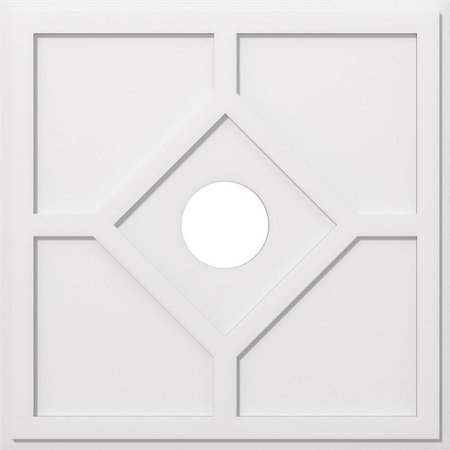 Ekena Millwork CMP36EY-07000 36 in. OD x 7 in. ID Square Embry Architectural Grade PVC Contemporary Ceiling Medallion - image 1 de 1