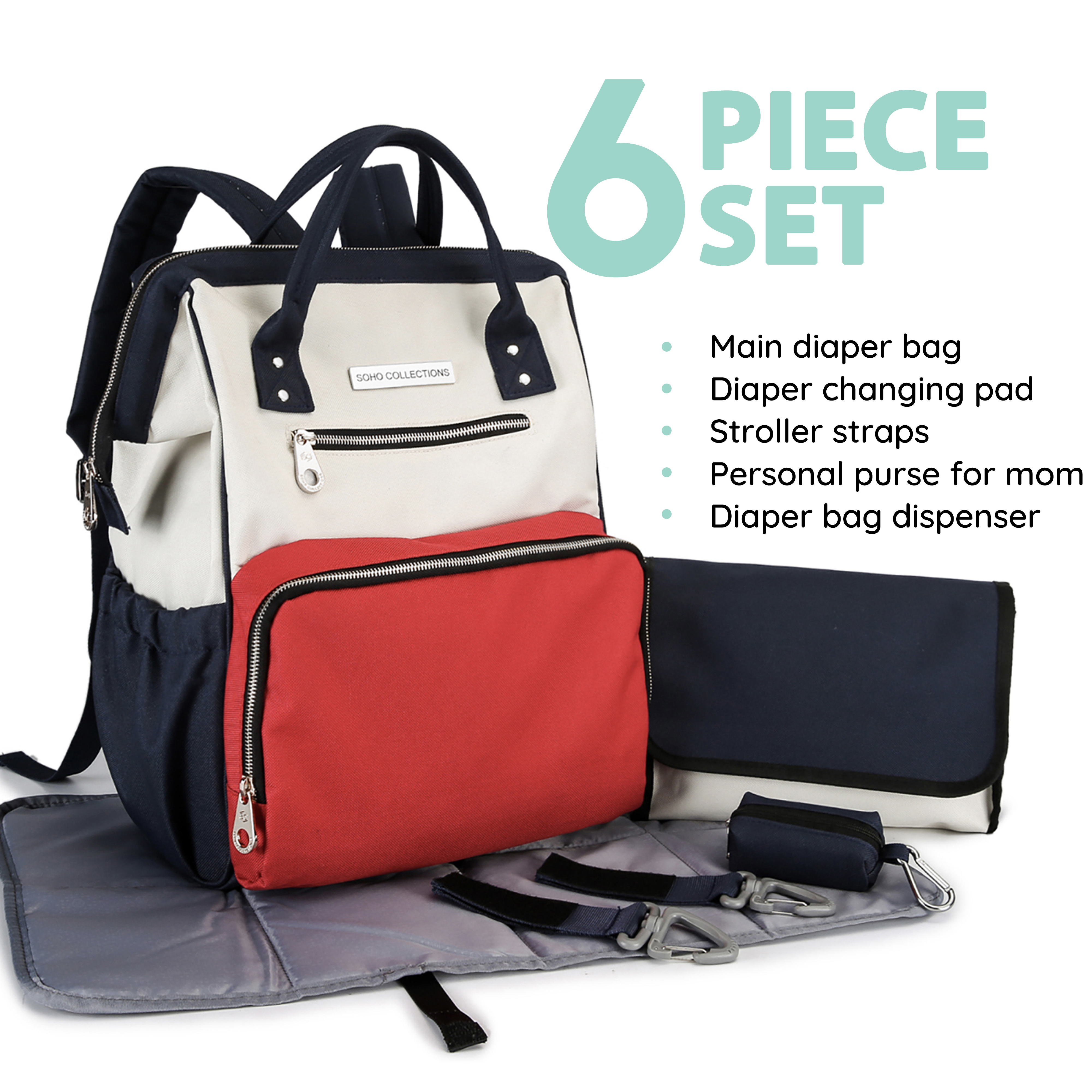 SoHo diaper bag backpack Wide Opening 6 pieces nappy tote bag for baby mom dad stylish insulated unisex multifuncation large capacity waterproof durable includes changing pad stroller straps American