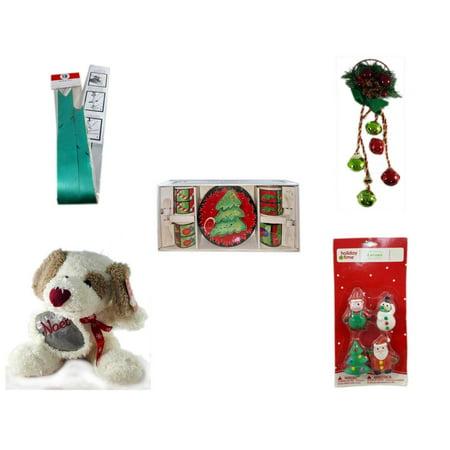 Christmas Fun Gift Bundle [5 Piece] - Myco's Best Pull Bows Set of 10 - Festive Holly Berry & Pinecone Door Knob Jingler -  Style Dessert Set 12 Piece - Cuddly Friends Noel Puppy  10