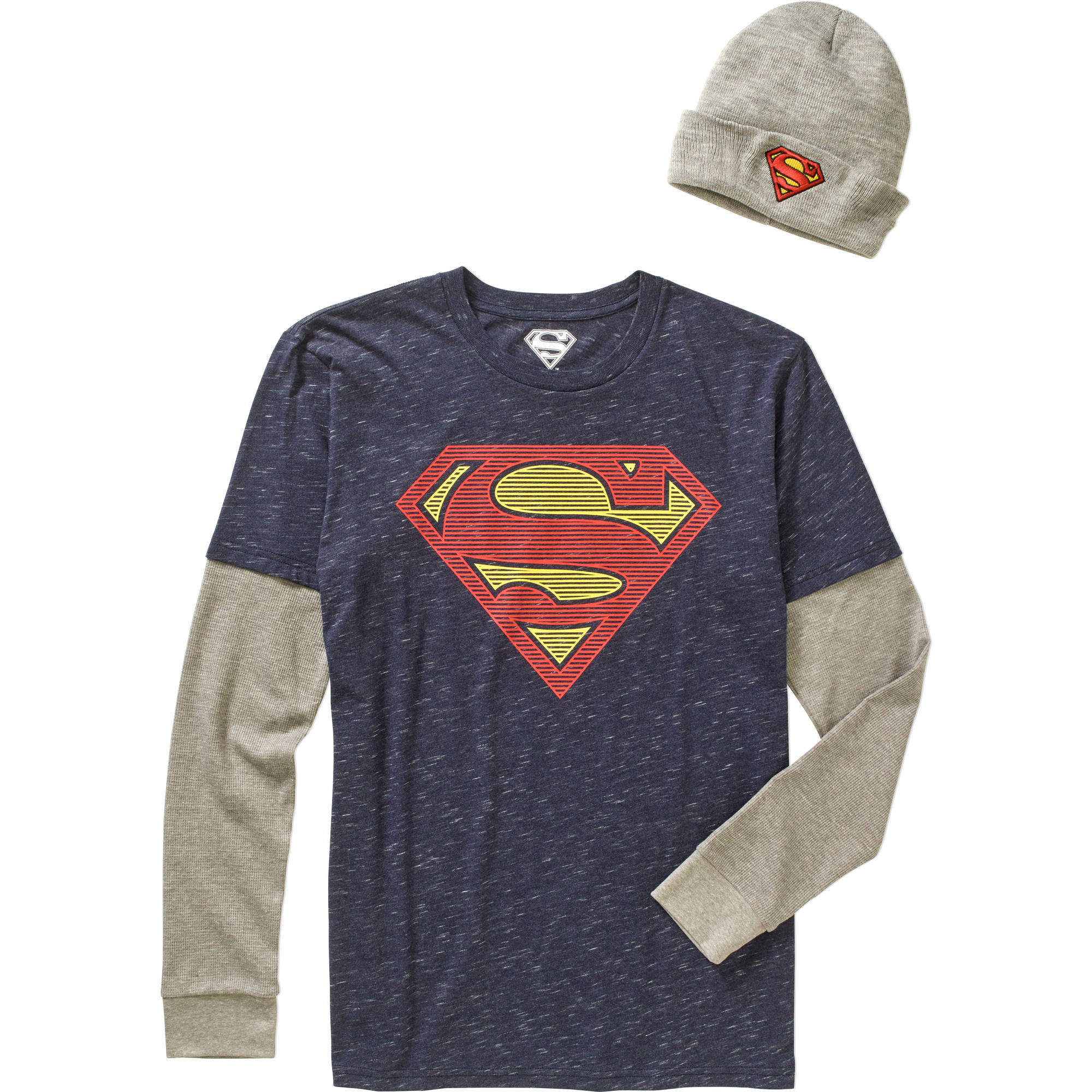 Superman Big Men's Shirt & Beanie Combo, 2XL
