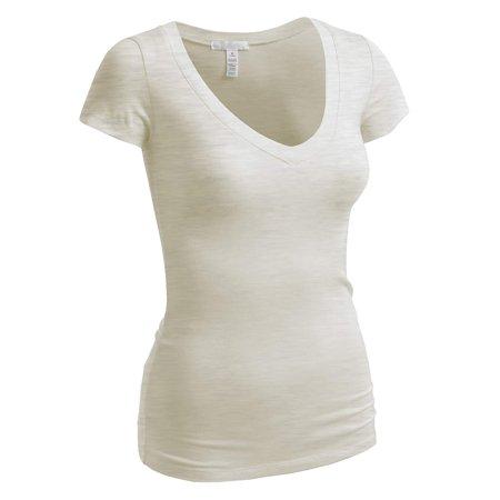 528ba5c18d2c TheLovely - Women & Juniors Short Sleeve V-Neck Plain T-Shirts Top (Juniors  & Plus Sizes) - Walmart.com