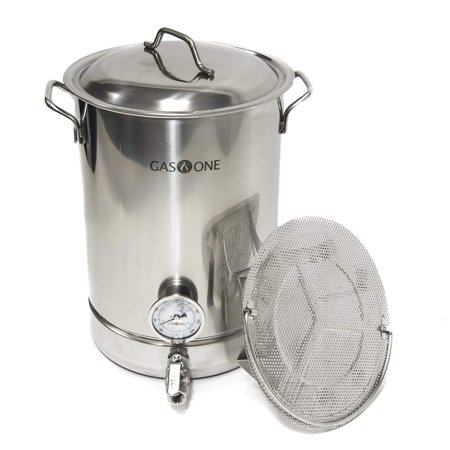 GasOne 8 Gallon Stainless Steel Home Brew Pot Brew Kettle Set 32 Quart Filtration & TRI PLY Bottom for Beer Brewing Includes Lid Ball Valve Thermometer False Bottom Mesh Tube Tool Complete Kit ()