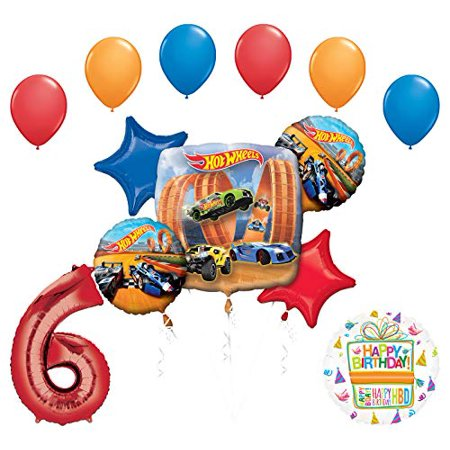 Mayflower Products Hot Wheels Party Supplies 6th Birthday Balloon Bouquet Decorations - Hot Wheels Birthday Party Ideas