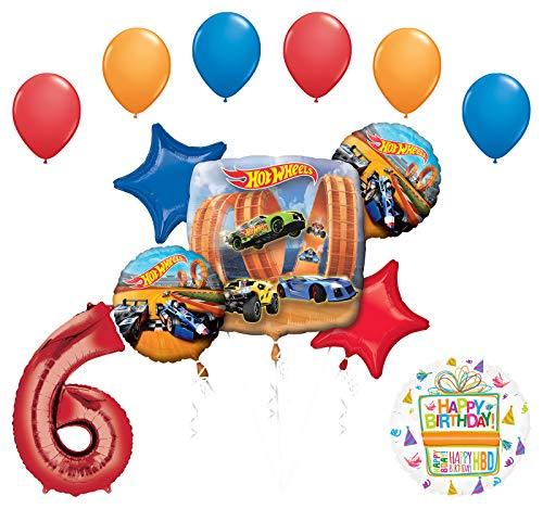Hotwheels Birthday (Mayflower Products Hot Wheels Party Supplies 6th Birthday Balloon Bouquet)