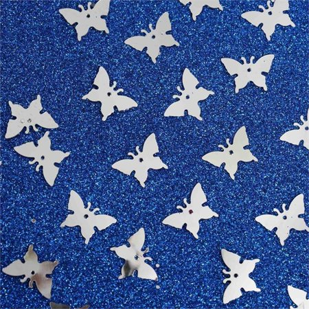 Efavormart Metallic Foil Wedding-Party Butterfly Confetti - 300 PCS- Silver - Butterfly Confetti