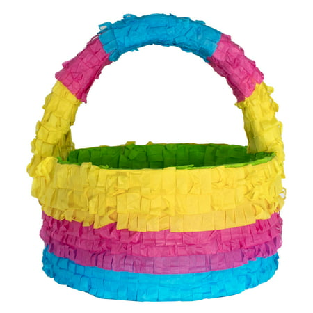 (2 Pack) Stripped Easter Basket Part Pinata, Traditionally Handcrafted