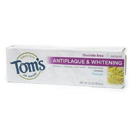 Tom's of Maine Natural Fluoride-Free Antiplaque & Whitening Fennel Toothpaste, 5.5 oz (Natural Toothpaste Whitening)