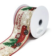 """Merry Christmas"" Red Truck Linen Ribbon, 2-1/2-Inch, 10-Yard, Natural"